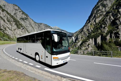 Bus in Mountains