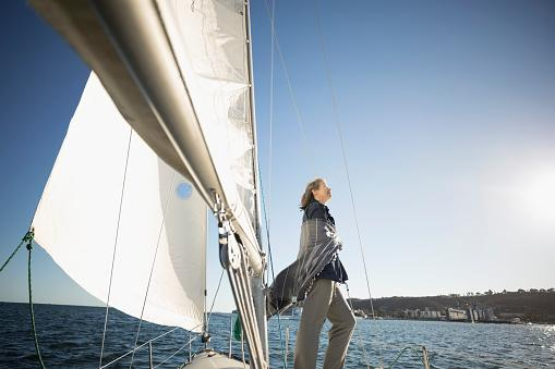 Woman on a Sail Boat