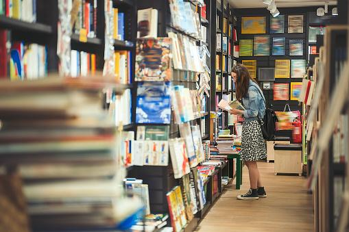Woman in book store